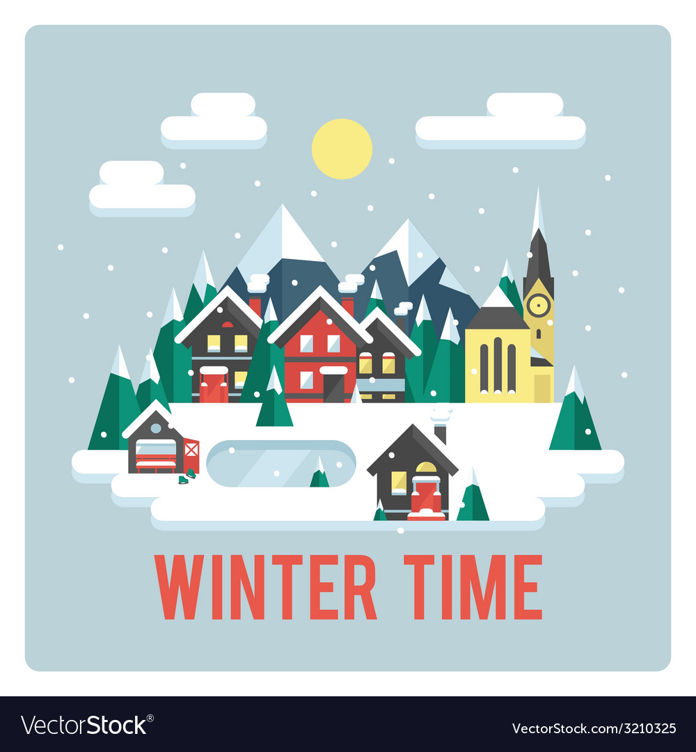 Town in mountains winter time day vector | Price: 1 Credit (USD $1)