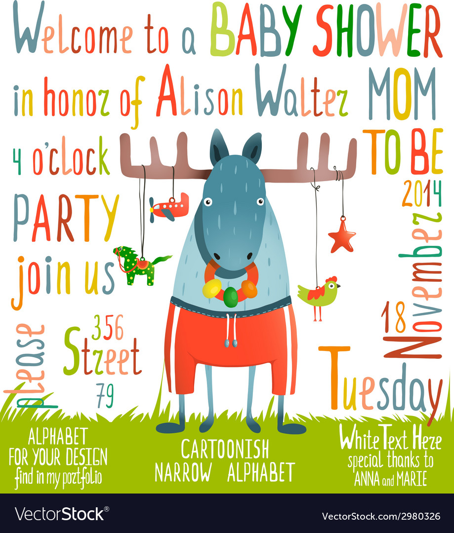 Baby shower invitation with animal vector | Price: 1 Credit (USD $1)