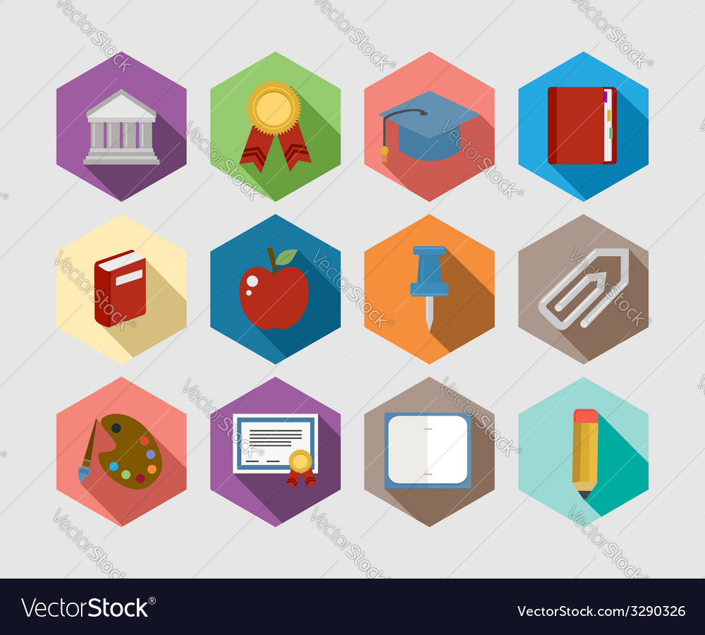 Back to school flat icons design set vector | Price: 1 Credit (USD $1)