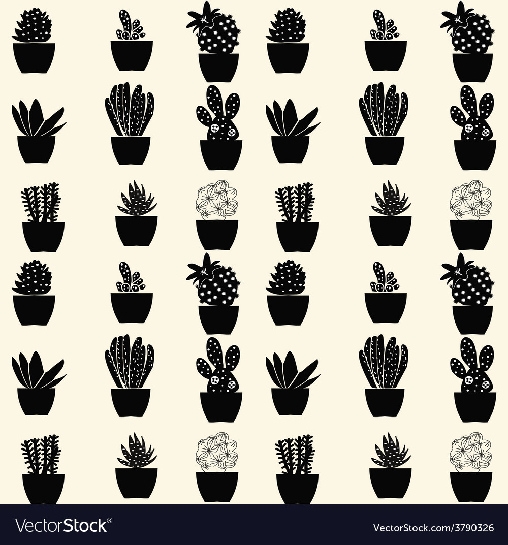 Cactus pattern cartoon cactus vector | Price: 1 Credit (USD $1)