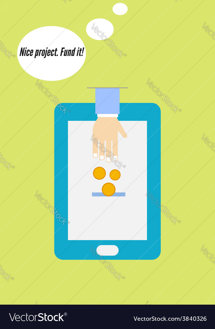 Flat design concept of crowdfunding via smartphone vector | Price: 1 Credit (USD $1)