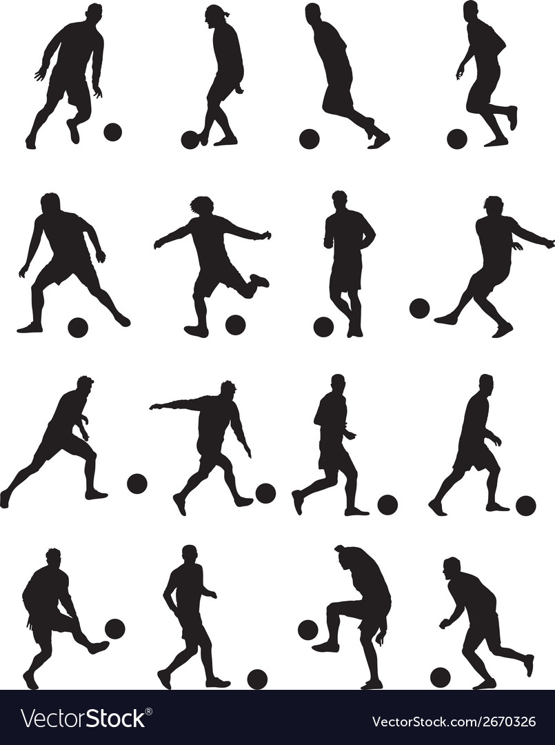 Football players silhouettes vector | Price: 1 Credit (USD $1)