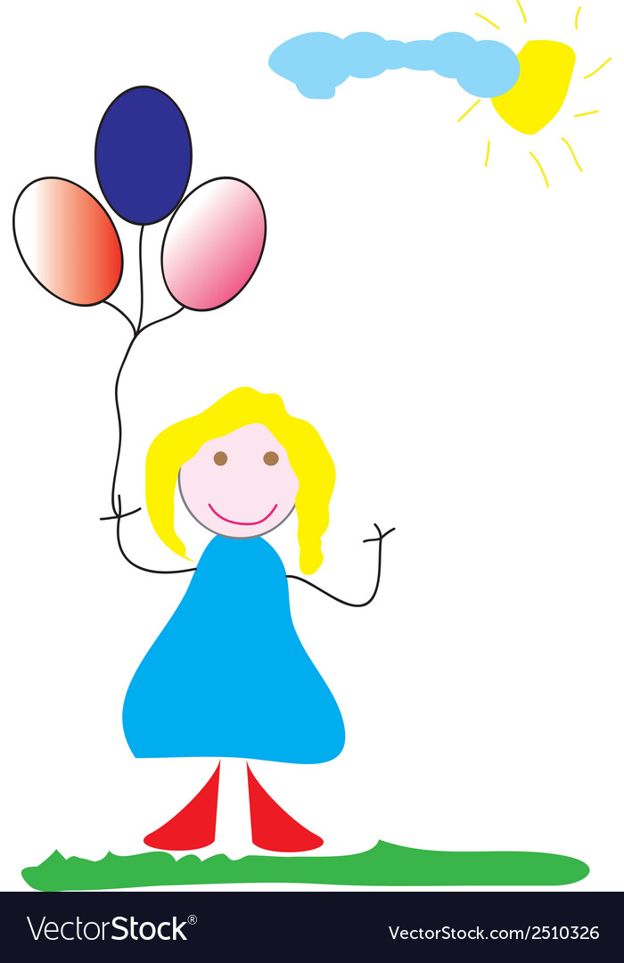 Girl with balloons vector | Price: 1 Credit (USD $1)