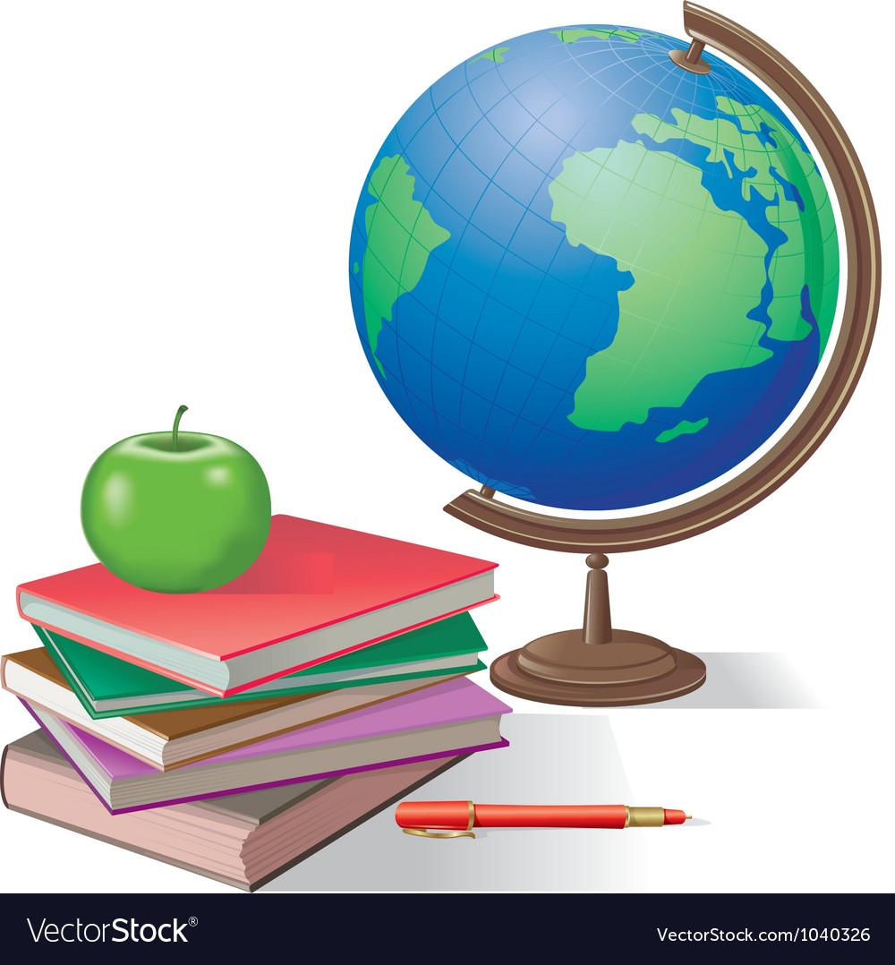Globe and books vector | Price: 3 Credit (USD $3)