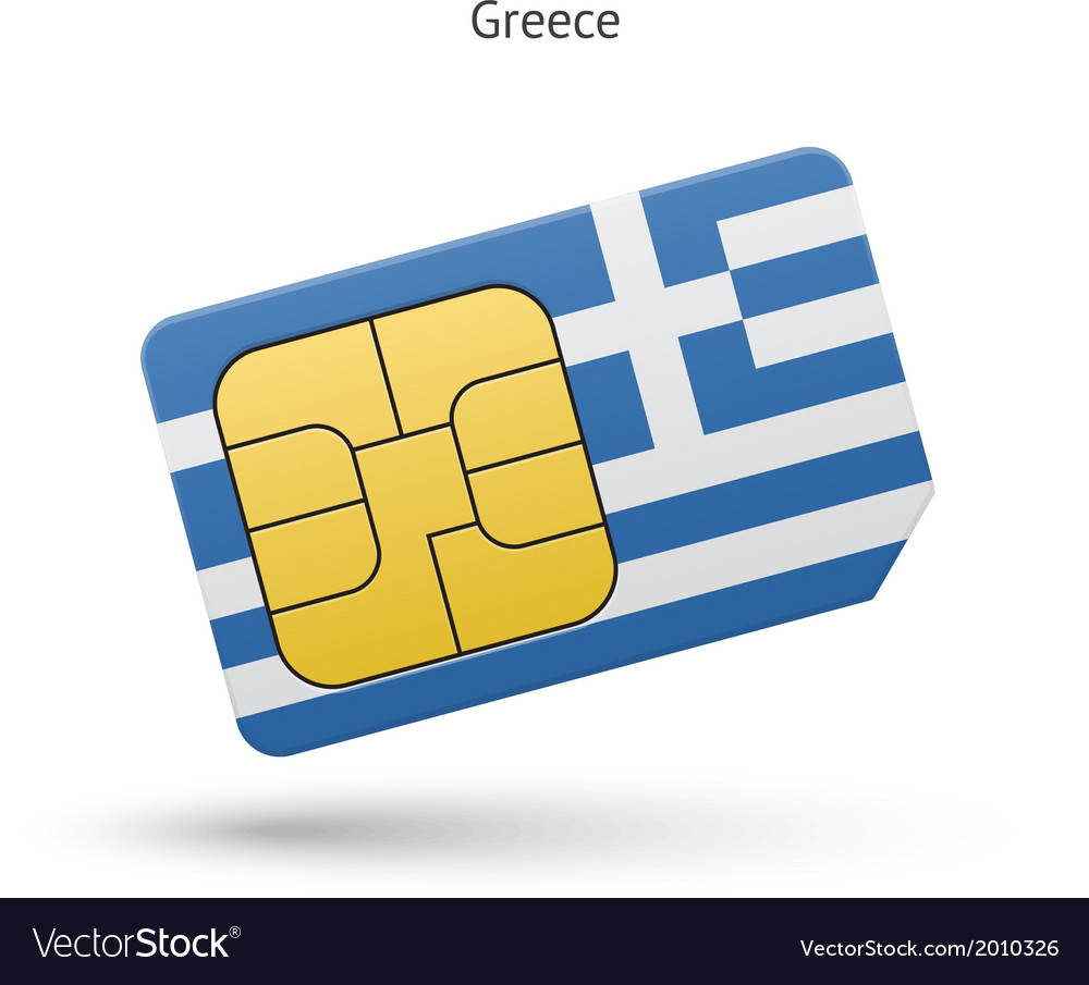 Greece mobile phone sim card with flag vector | Price: 1 Credit (USD $1)