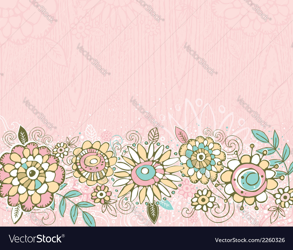 Hand draw flowers on pink background vector | Price: 1 Credit (USD $1)
