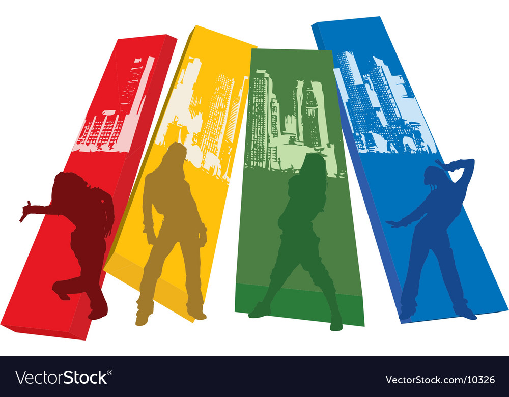 Rainbow color hip hop silhouette vector | Price: 1 Credit (USD $1)