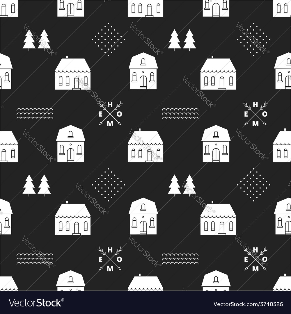 Seamless pattern with country houses vector | Price: 1 Credit (USD $1)