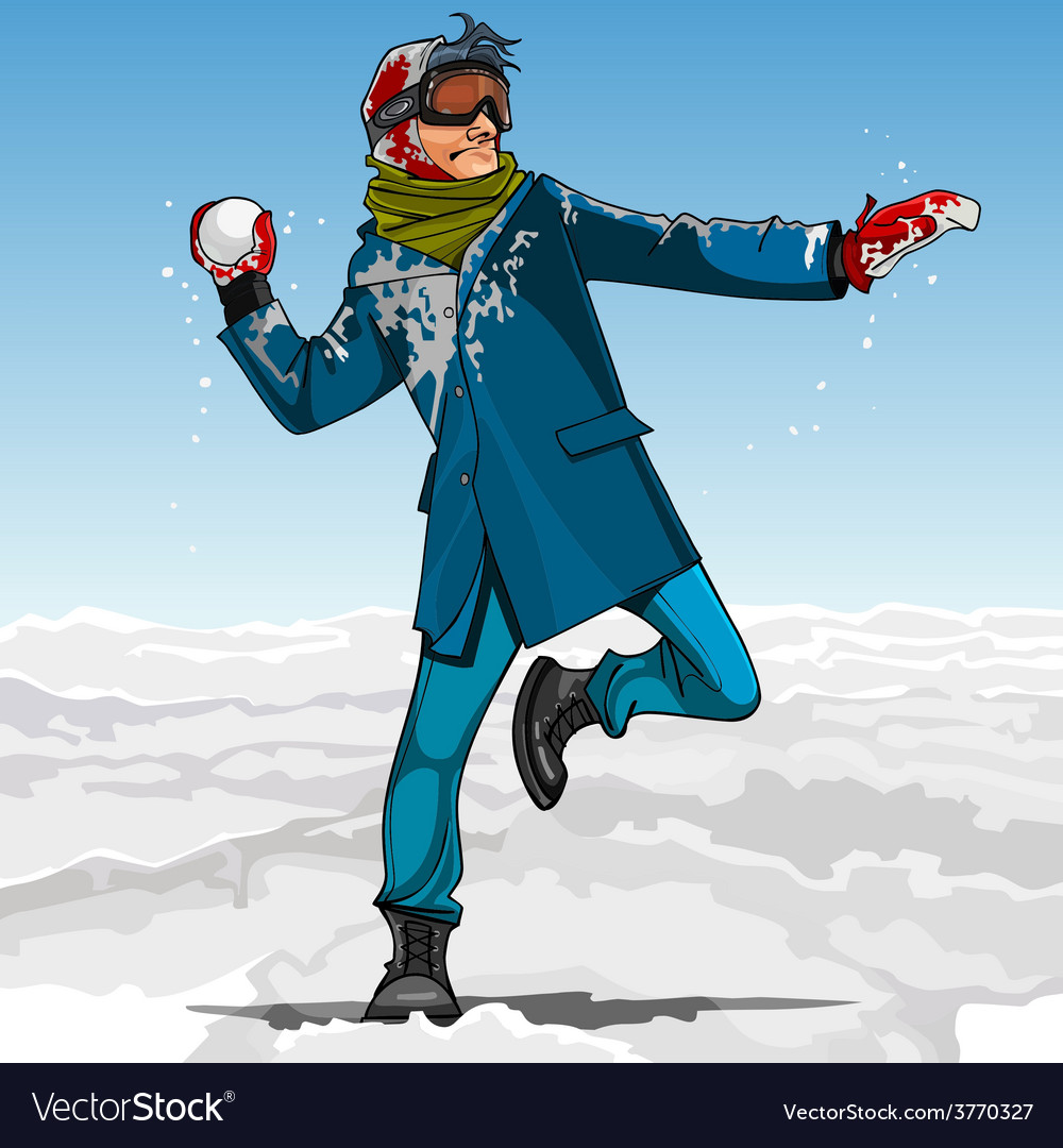 Cartoon guy hipster playing snowballs in winter vector | Price: 3 Credit (USD $3)