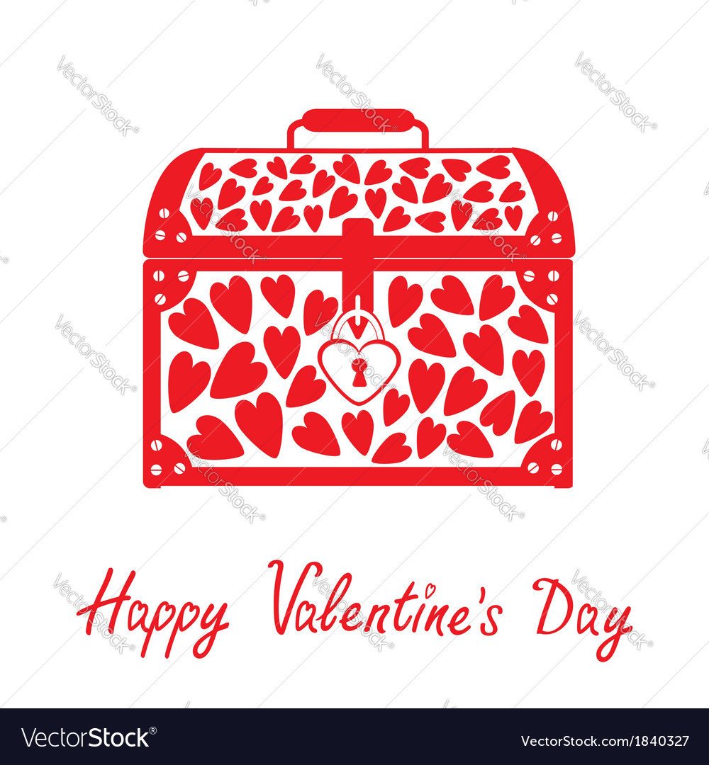 Chest vase with hearts happy valentines day card vector | Price: 1 Credit (USD $1)