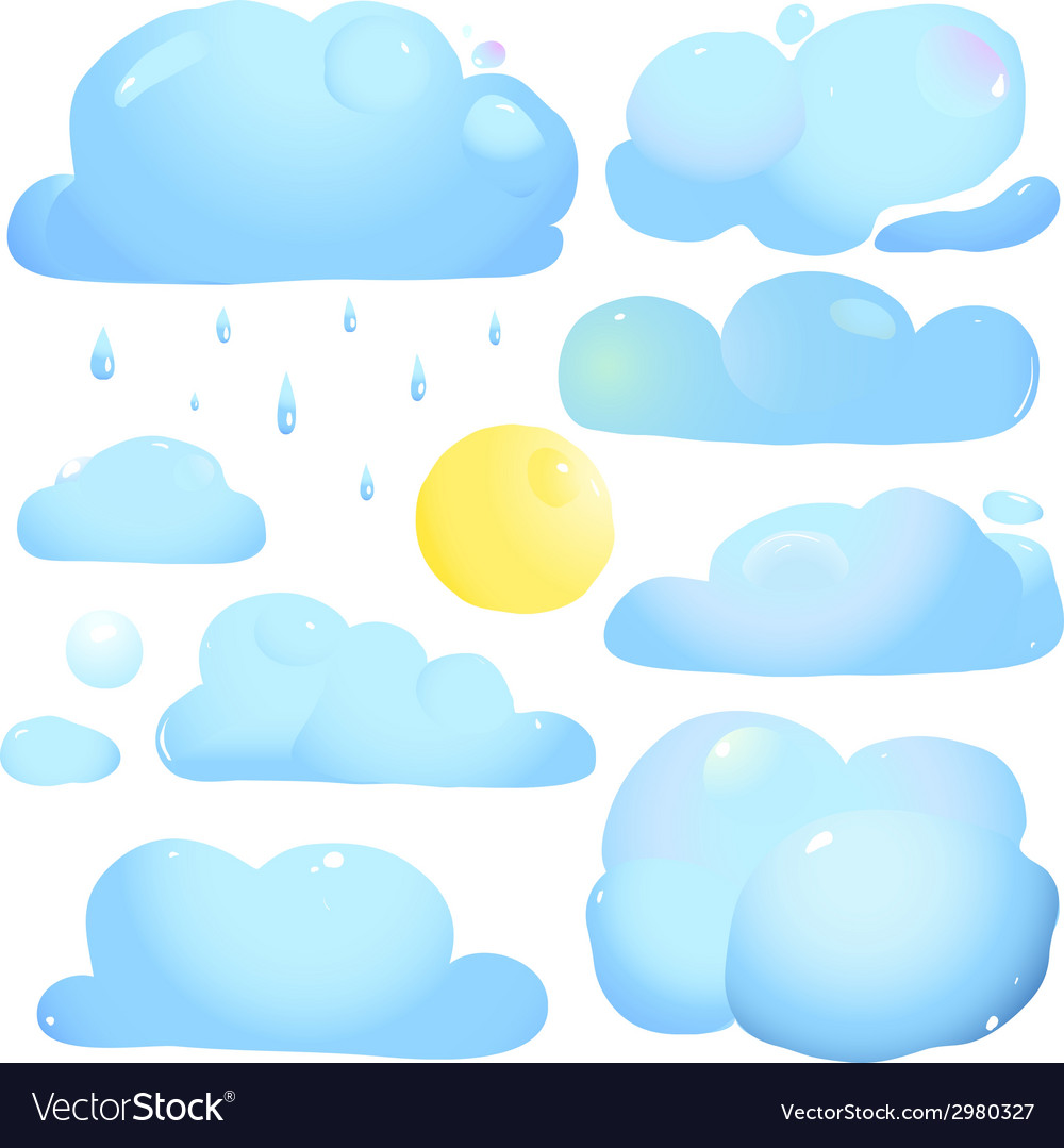 Clouds sun and rain drops vector | Price: 1 Credit (USD $1)