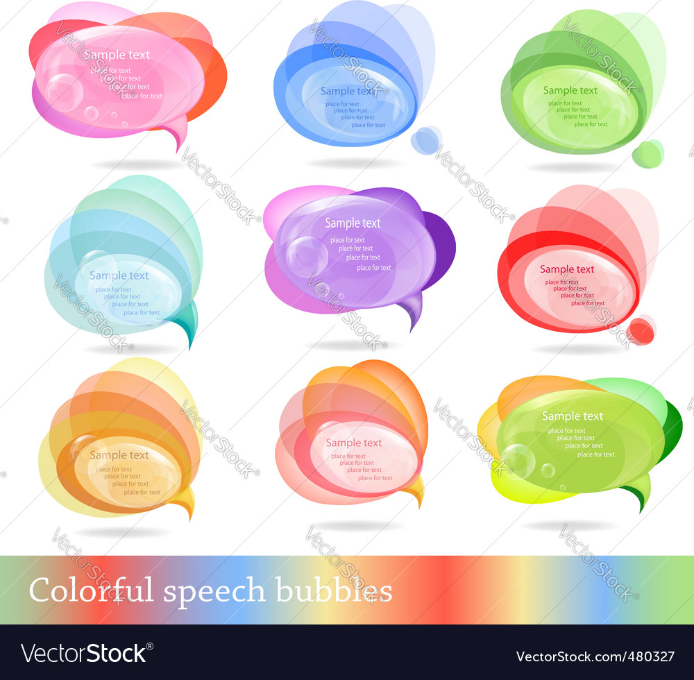 Collection of colorful speech bubbles vector | Price: 1 Credit (USD $1)