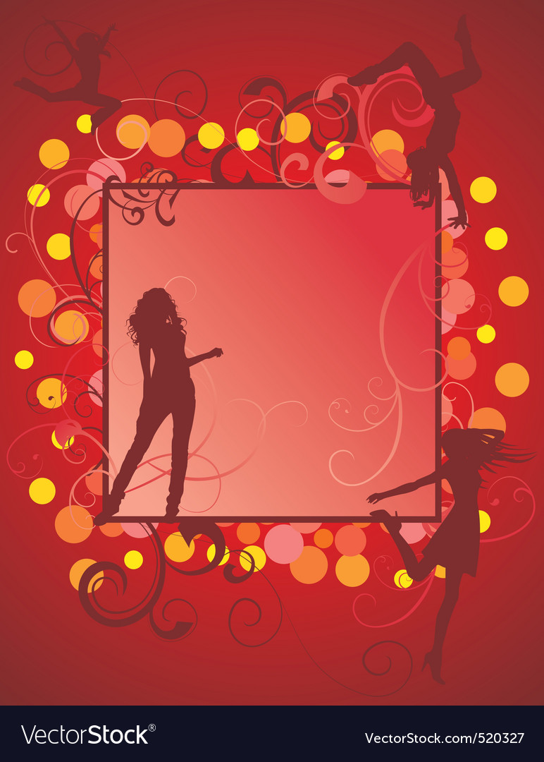 Dancing girls on red backdrop vector | Price: 1 Credit (USD $1)