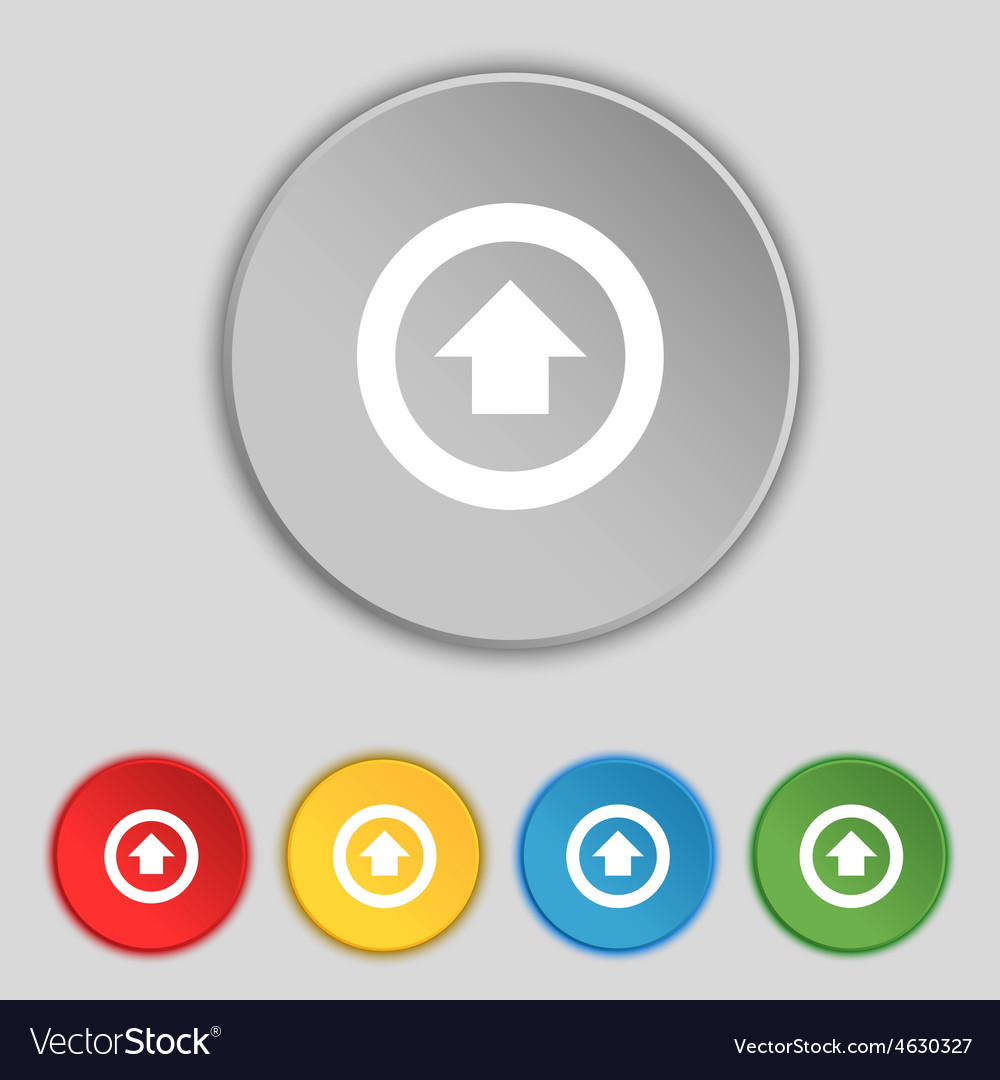 Direction arrow up icon sign symbol on five flat vector | Price: 1 Credit (USD $1)