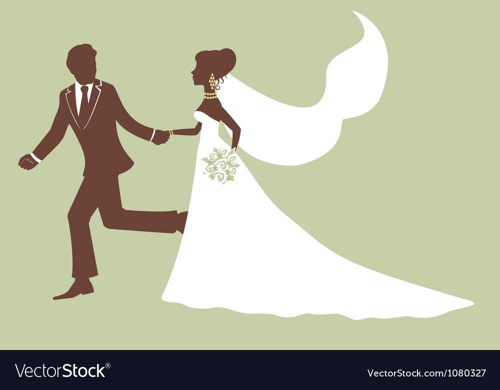 Elegant bride and groom running vector | Price: 1 Credit (USD $1)