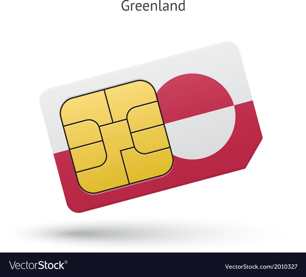 Greenland mobile phone sim card with flag vector   Price: 1 Credit (USD $1)