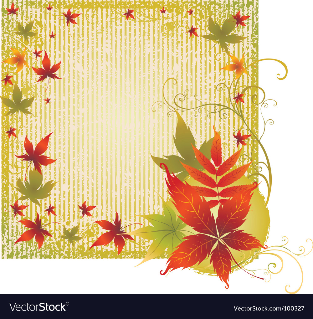 Grunge background with autumn leafs t vector | Price: 1 Credit (USD $1)