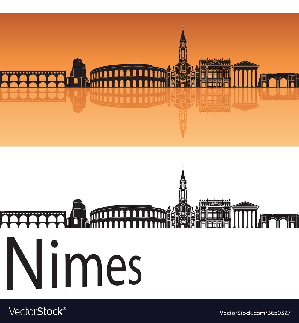 Nimes skyline in orange background vector   Price: 1 Credit (USD $1)