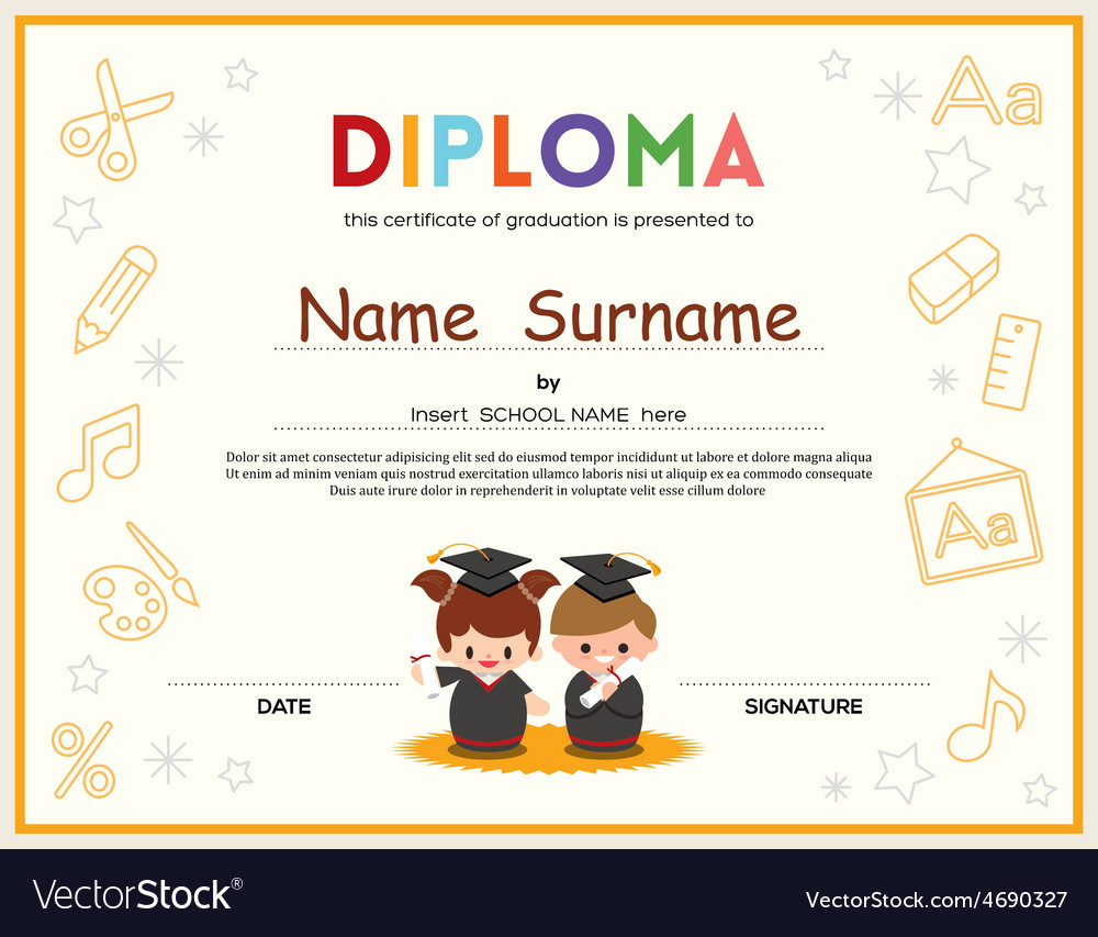 Preschool kids diploma certificate template vector | Price: 1 Credit (USD $1)