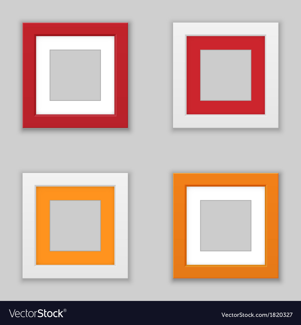 Realistic square picture frame set vector | Price: 1 Credit (USD $1)