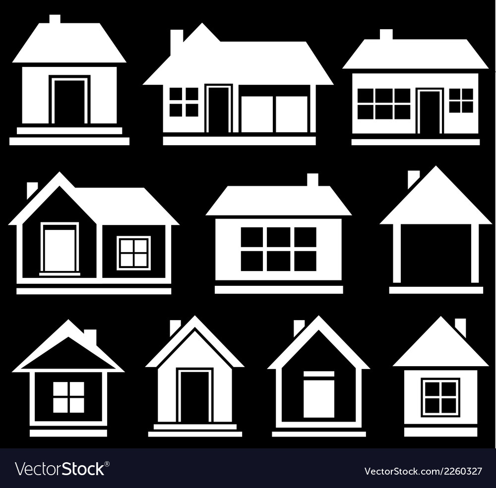 Set white house silhouette vector | Price: 1 Credit (USD $1)
