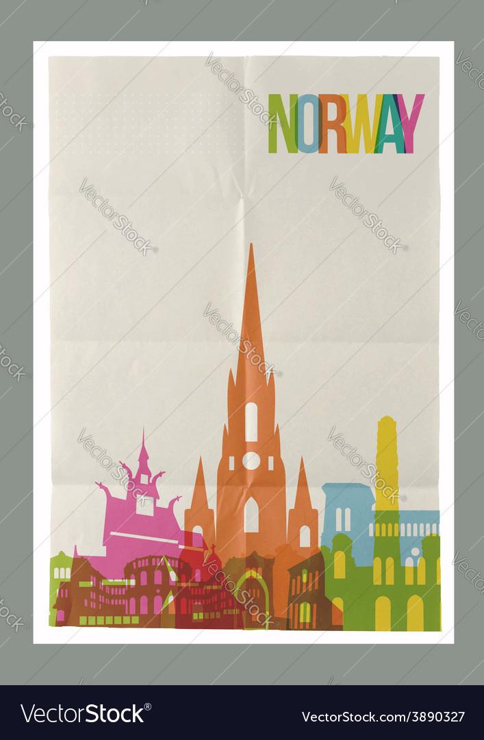 Travel norway landmarks skyline vintage poster vector | Price: 1 Credit (USD $1)