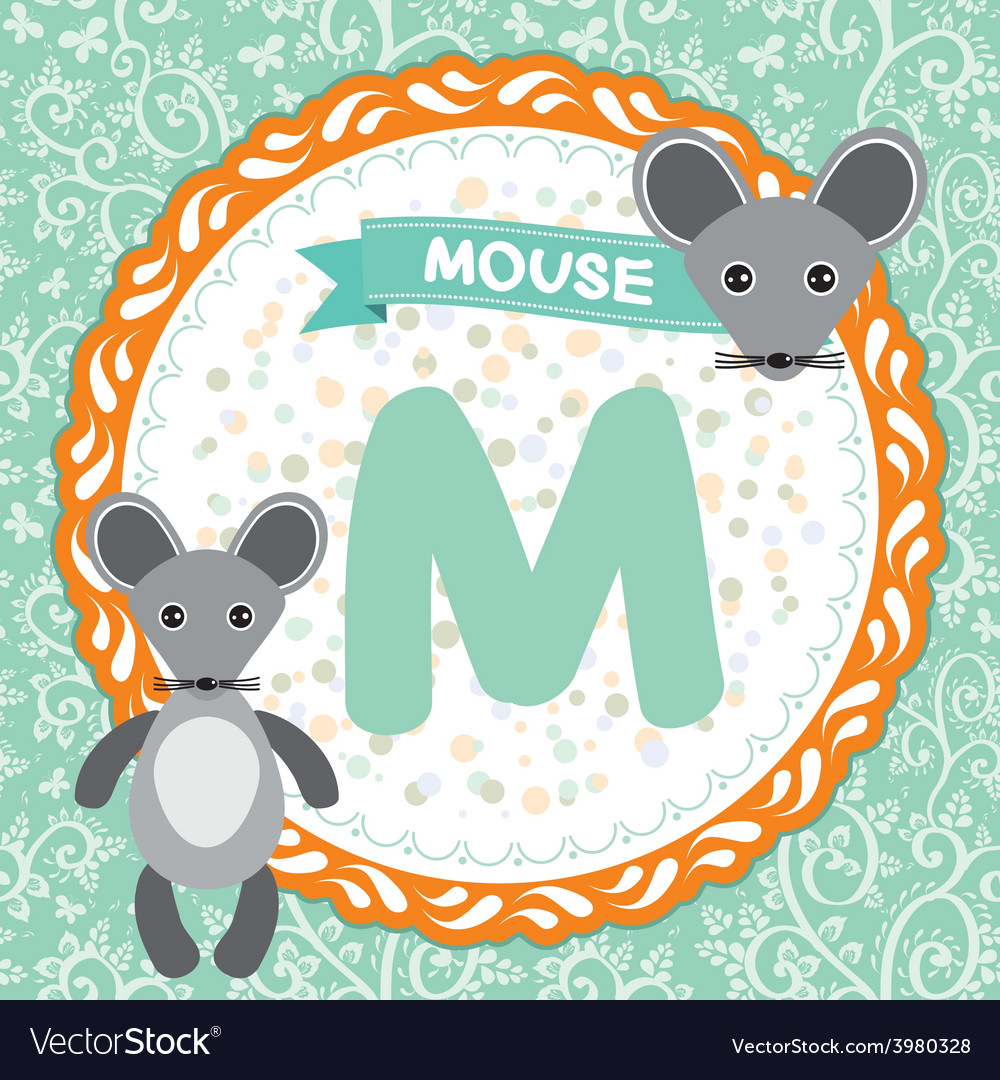 Abc animals m is mouse childrens english alphabet vector | Price: 1 Credit (USD $1)