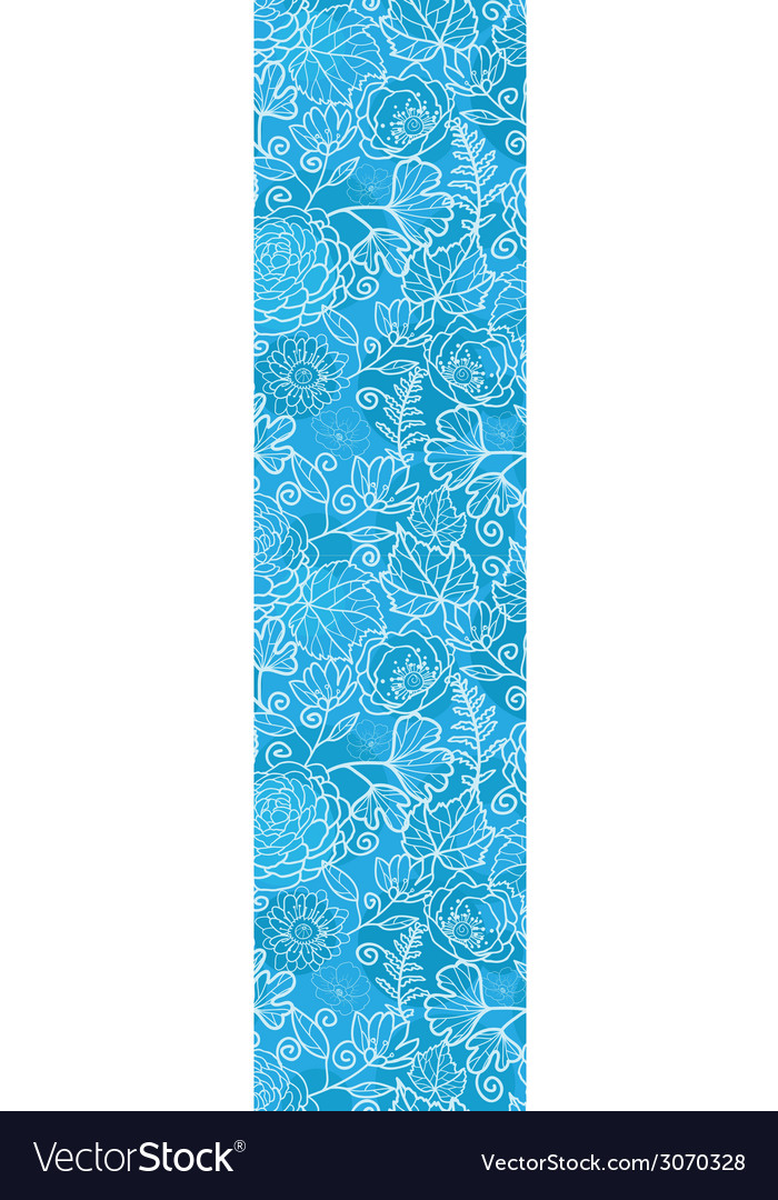 Blue field floral texture vertical border seamless vector | Price: 1 Credit (USD $1)
