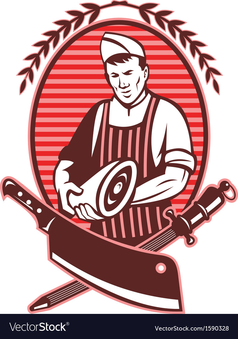 Butcher holding meat knife sharpening tool vector | Price: 1 Credit (USD $1)