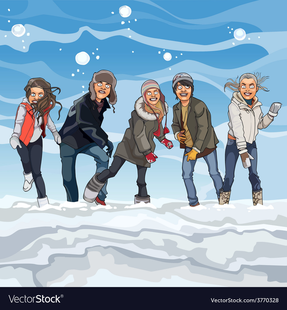 Cartoon guys and girls playing snowballs in winter vector | Price: 3 Credit (USD $3)
