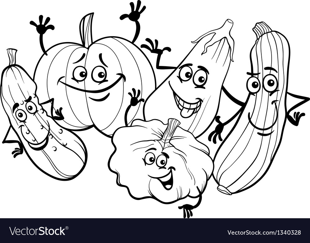 Cucurbit vegetables for coloring book vector