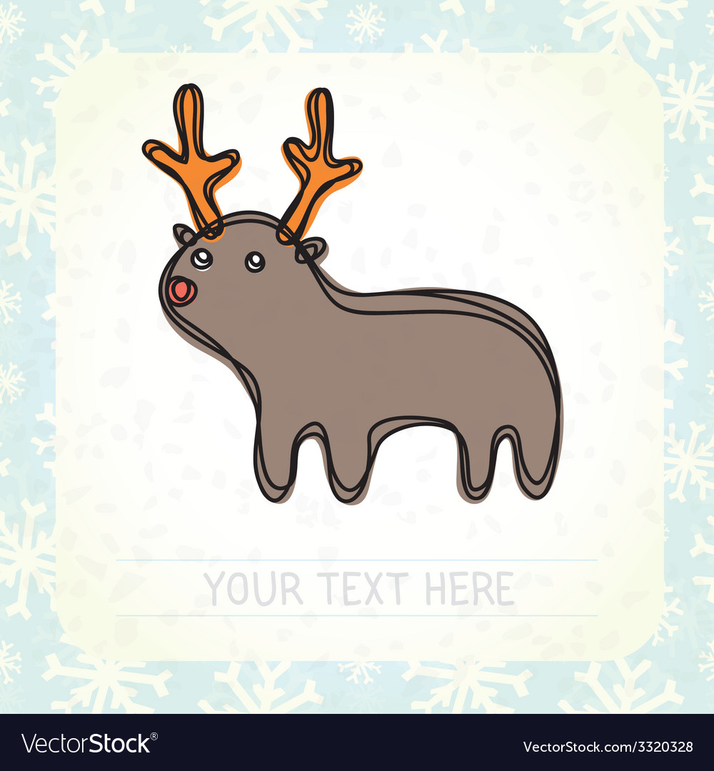 Cute deer and snowflakes vector | Price: 1 Credit (USD $1)