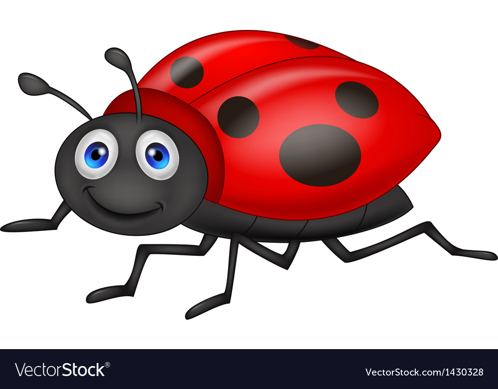 Cute ladybug cartoon vector | Price: 1 Credit (USD $1)