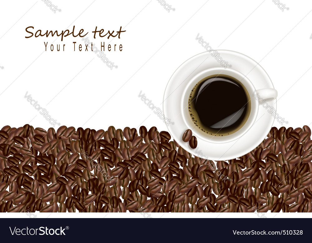 Desing with coffee and bean white background vector   Price: 1 Credit (USD $1)