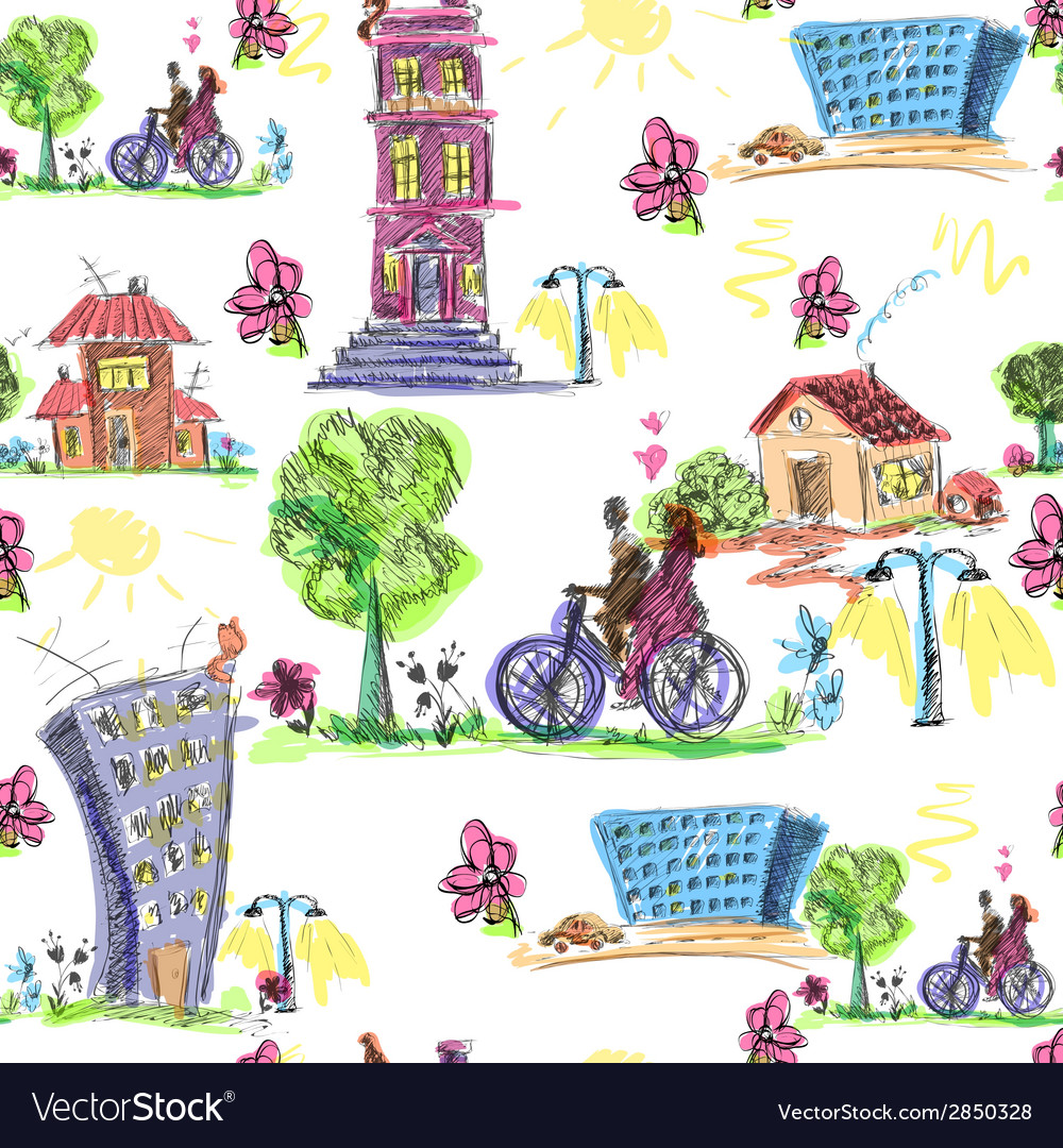 Doodle city colored seamless pattern vector | Price: 1 Credit (USD $1)