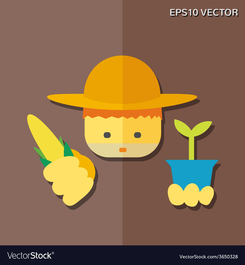 Farmer flat icon vector | Price: 1 Credit (USD $1)