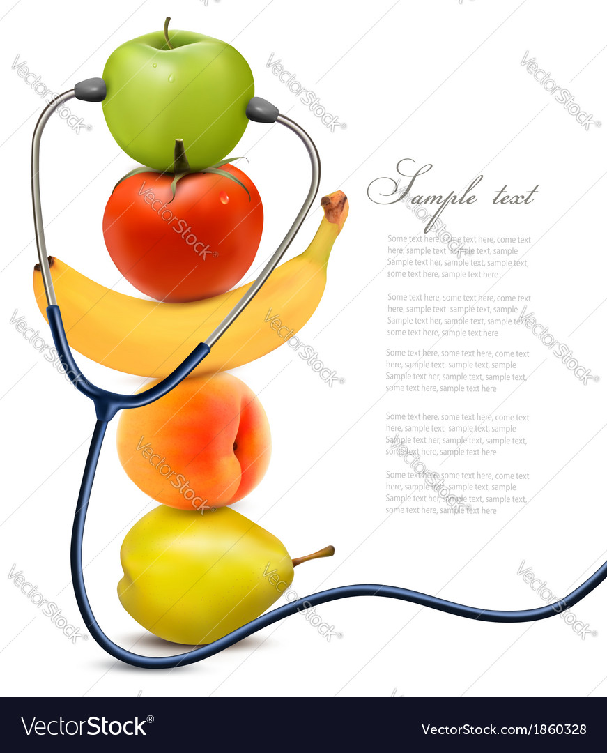 Fruit with a stethoscope healthy eating concept vector | Price: 1 Credit (USD $1)