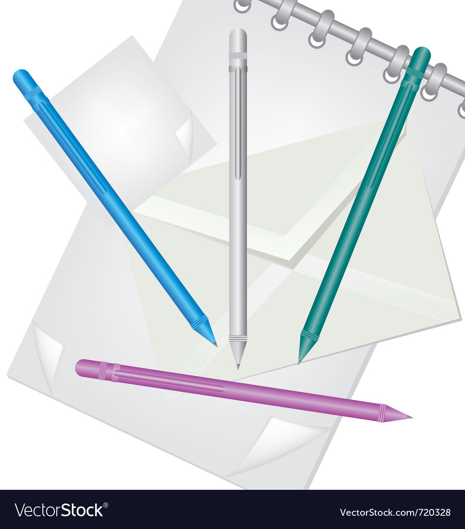 Pencil envelope and notebook vector   Price: 1 Credit (USD $1)