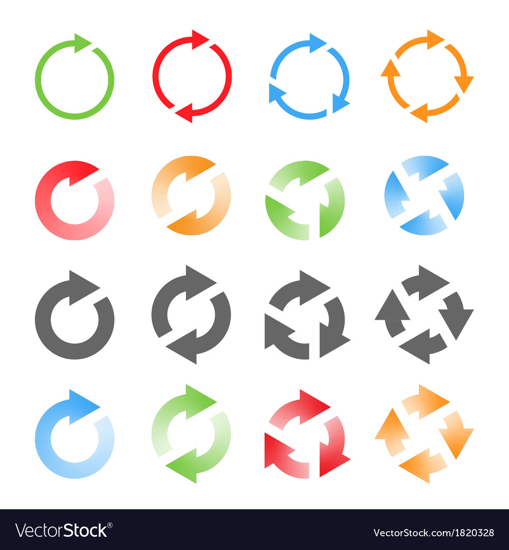 Rotating arrows set vector | Price: 1 Credit (USD $1)
