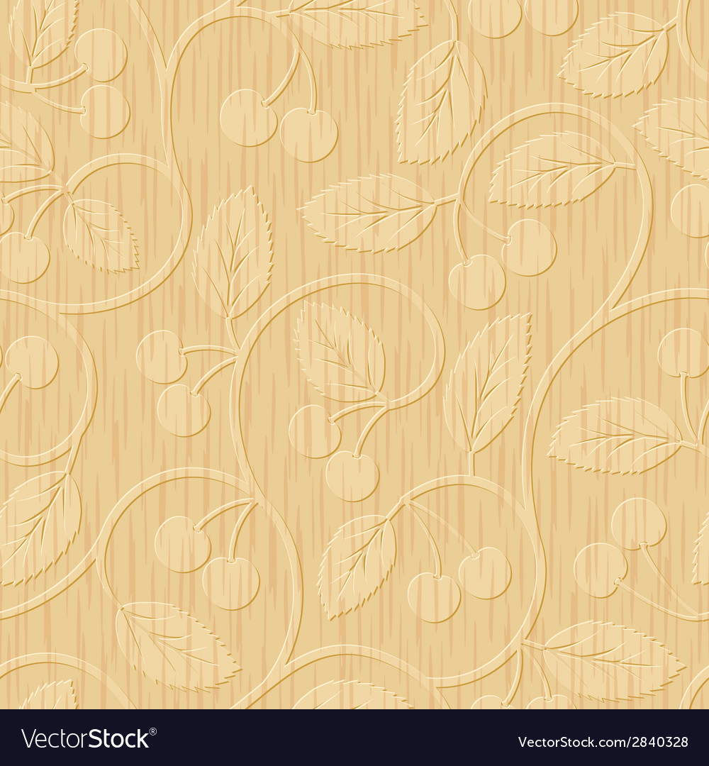 Seamless cherry wood carved floral ornament vector | Price: 1 Credit (USD $1)