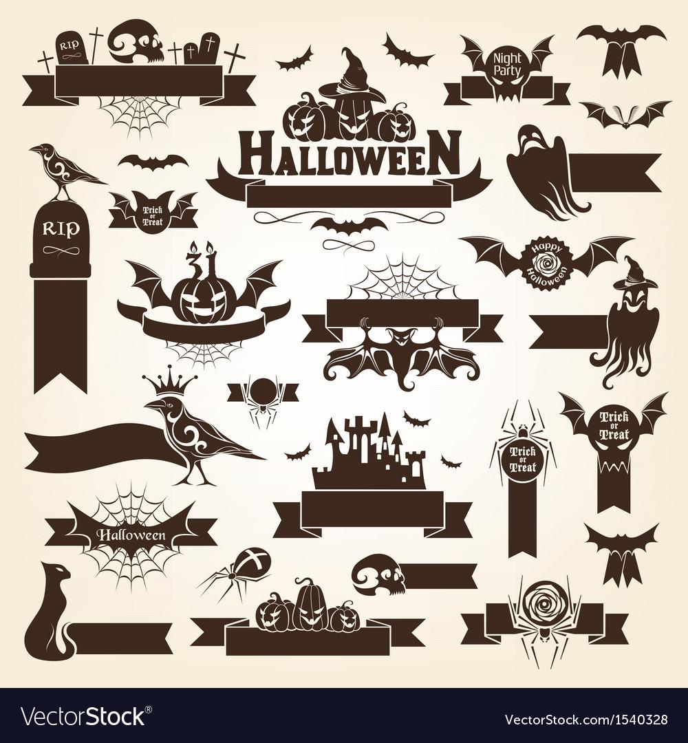 Set of halloween design elements vector | Price: 3 Credit (USD $3)