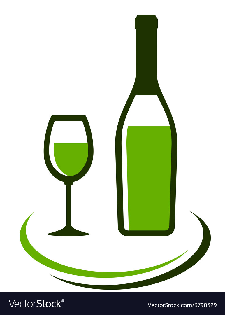 Bottle and glass of white wine vector | Price: 1 Credit (USD $1)