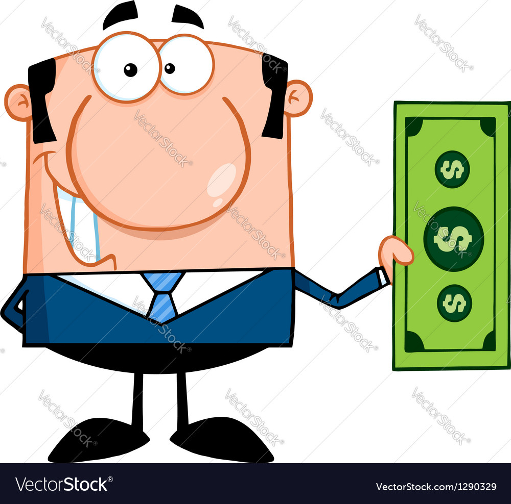 Business man holding a dollar bill vector | Price: 1 Credit (USD $1)