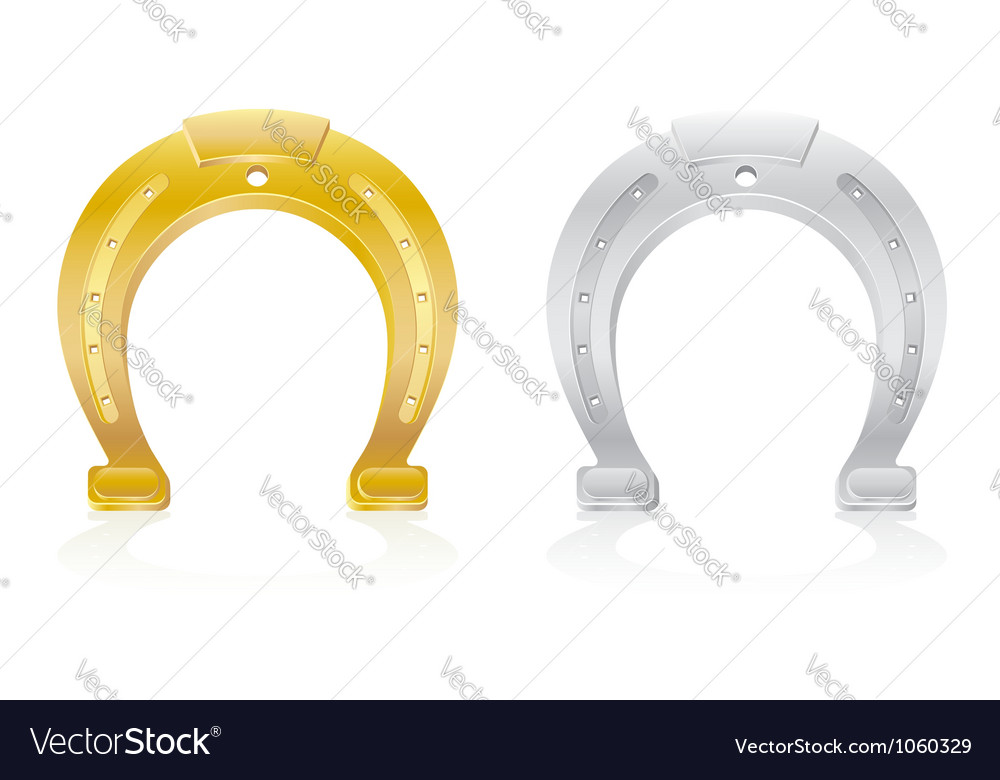 Gold and silver horseshoe talisman charm vector | Price: 1 Credit (USD $1)