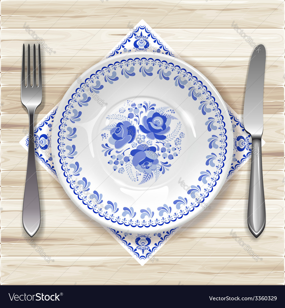 Gzhel plate vector | Price: 3 Credit (USD $3)