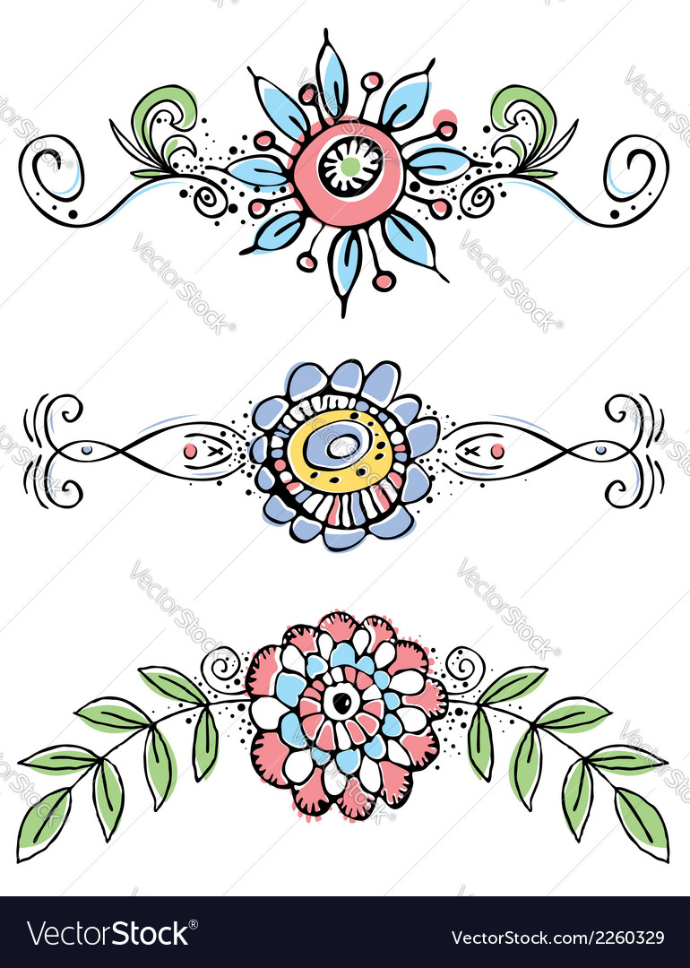 Hand draw flowers with decorative leafs and lines vector | Price: 1 Credit (USD $1)