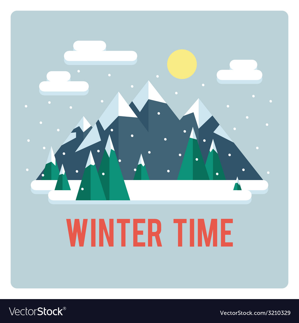 Mountains landscape winter time day vector | Price: 1 Credit (USD $1)