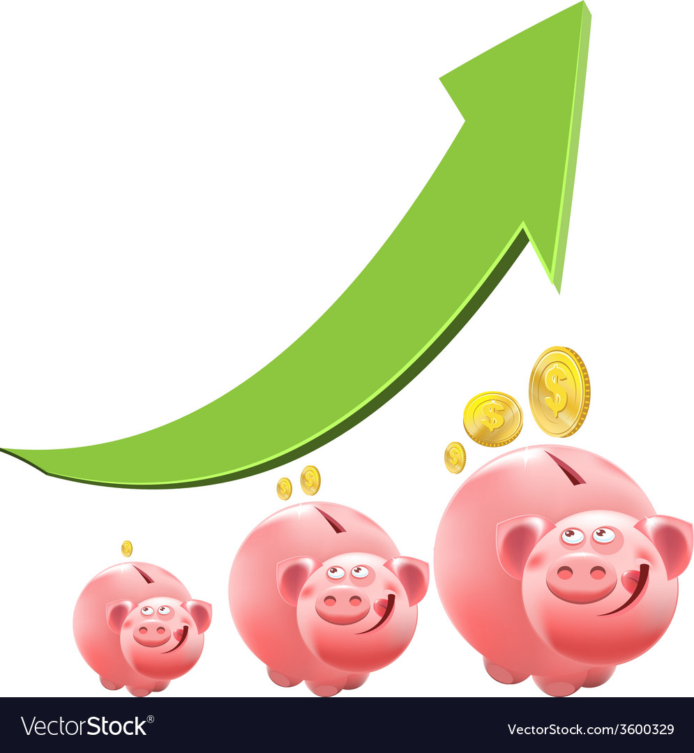 Pig piggy bank interest money vector | Price: 1 Credit (USD $1)