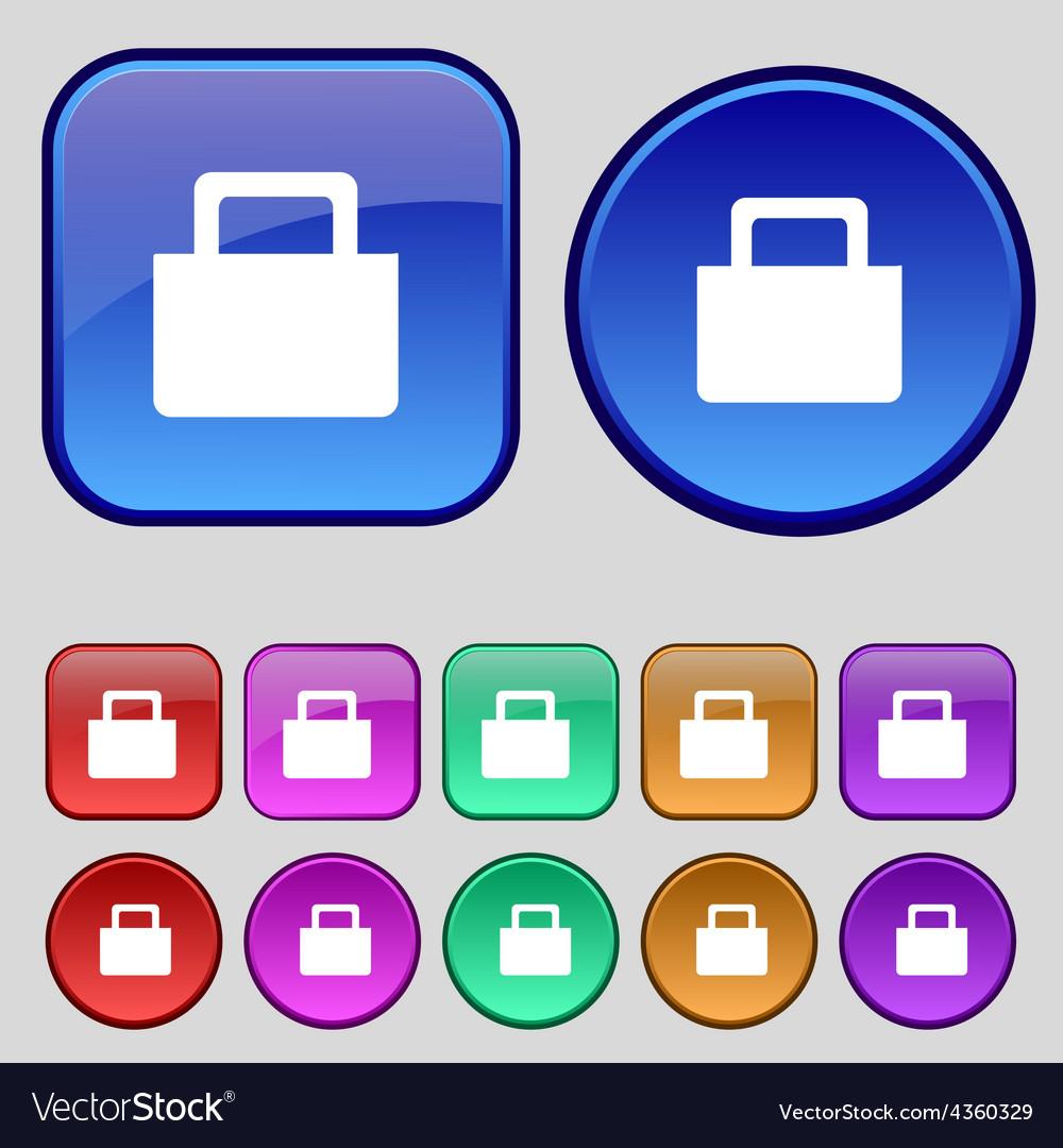 Sale bag icon sign a set of twelve vintage buttons vector | Price: 1 Credit (USD $1)