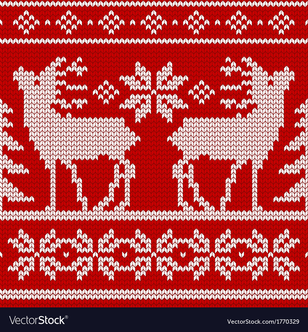 Seamless knit pattern deers vector | Price: 1 Credit (USD $1)